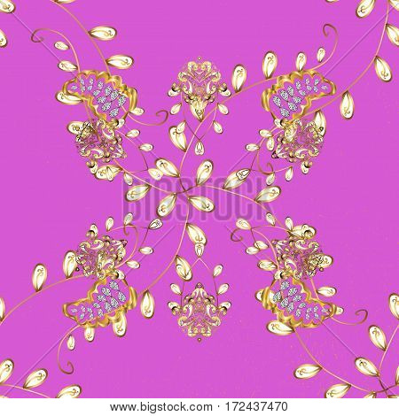 Floral ornament brocade textile pattern glass metal with floral pattern on pink background with golden elements. Classic vector golden pattern.