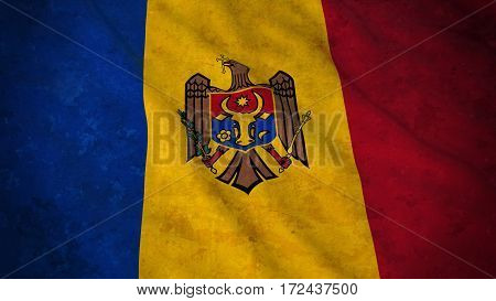 Grunge Flag Of Moldova - Dirty Moldovan Flag 3D Illustration