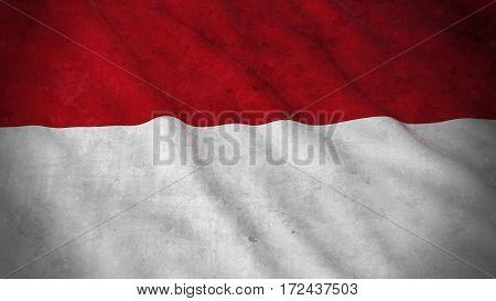 Grunge Flag Of Monaco / Indonesia - Dirty Monegasque / Indonesian Flag 3D Illustration