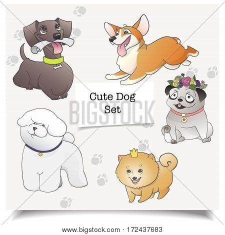 Vector of cartoon dogs. Different dog breeds isolated with pawprint. Cartoon illustration of dog characters