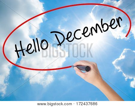 Woman Hand Writing Hello December No With Black Marker On Visual Screen