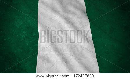 Grunge Flag Of Nigeria - Dirty Nigerian Flag 3D Illustration