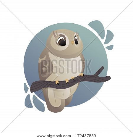 Vector cartoon art. Forest animals. Nightlife. Beautiful owl with big eyes sitting on tree branch