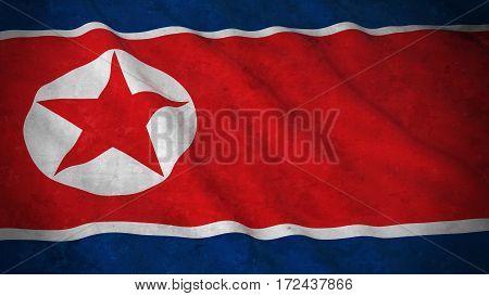 Grunge Flag Of North Korea - Dirty North Korean Flag 3D Illustration