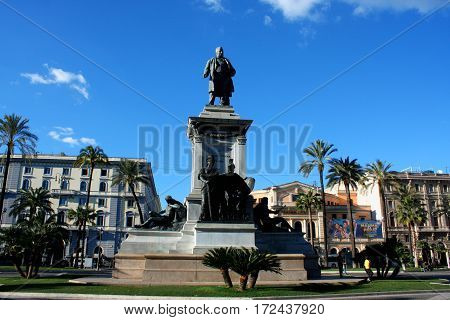 Rome: feb 20. 2017 - Monument to Cavour on the square of its name in Rome Italy
