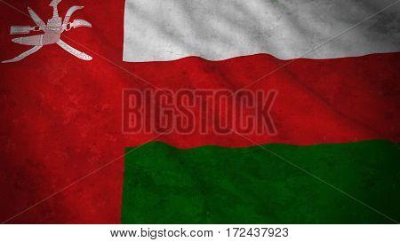 Grunge Flag Of Oman - Dirty Omani Flag 3D Illustration