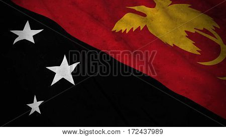 Grunge Flag Of Papua New Guinea - Dirty Papuan Flag 3D Illustration