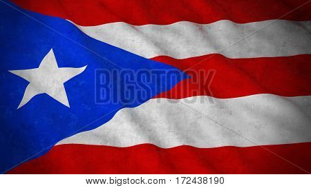 Grunge Flag Of Puerto Rico - Dirty Puerto Rican Flag 3D Illustration