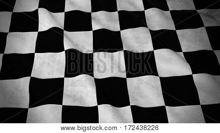 Grunge Flag Of Racing Checkers - Dirty Checkered Flag 3D Illustration
