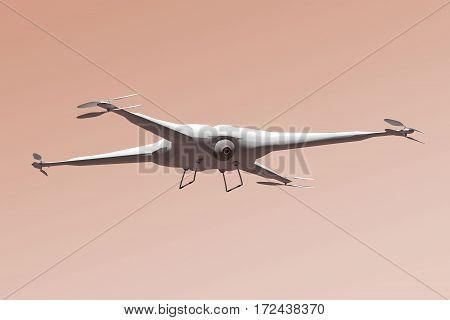 White drone flying over evening sky background - 3D rendering