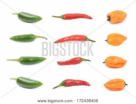 Red hot italian, orange habanero, green jalapeno peppers, set of multiple different foreshortenings