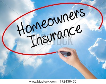 Woman Hand Writing Homeowners Insurance With Black Marker On Visual Screen