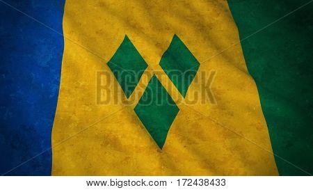 Grunge Flag Of Saint Vincent And The Grenadines - Dirty Vincentian Flag 3D Illustration