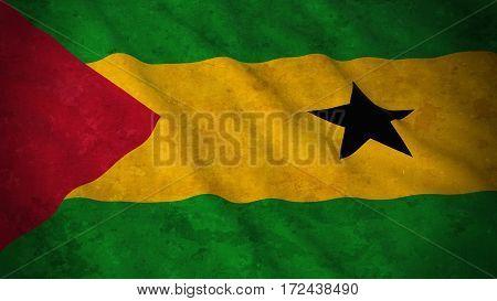 Grunge Flag Of Sao Tome And Principe - Dirty Sao Tomean Flag 3D Illustration
