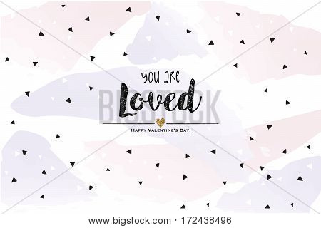 You are loved for me. Card with geometrizing elements on pastel shades and bright wallpaper