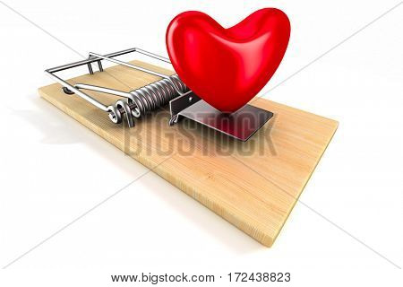heart in mousetrap. Isolated 3D image
