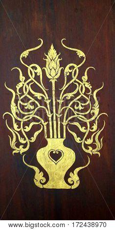 Photo beautiful gold pattern on the door