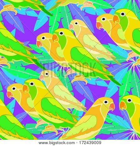 Seamless Pattern Lovebirds Parrot With A Red Beak.  Vector Illustration
