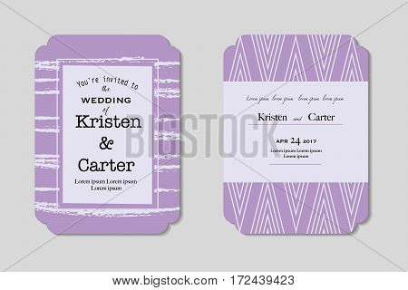 Vector decorative frame in modern style. Light purple tripped background frame. Wedding card. Design templates