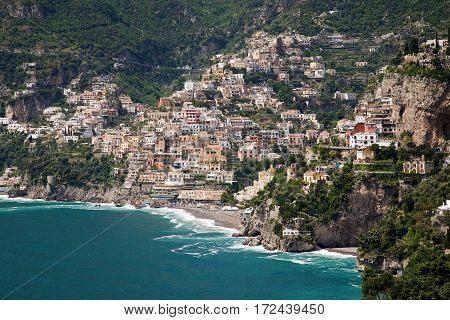 Positano, Italy - hillside town with superb beach and recreational boating.