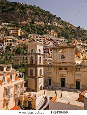 Church of Santa Maria Assunta in the center of town in Positano, Italy.
