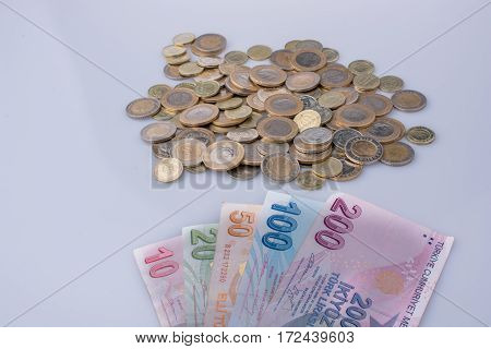 Turkish Lira Coins And Banknotes Side By Side