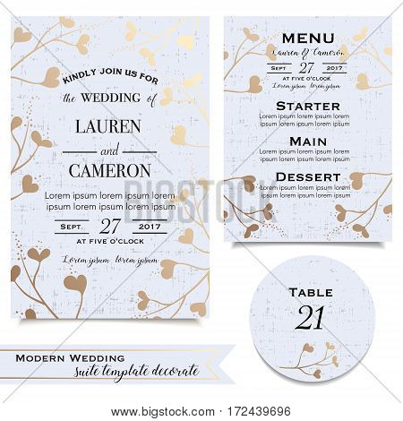 Modern wedding cards collection with invitation save the date card menu table card RSVP