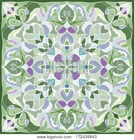 Delicate color pattern in Oriental style. Square ornament for shawls scarves or pillow. Can be used for printing onto fabric or paper. Vector illustration.