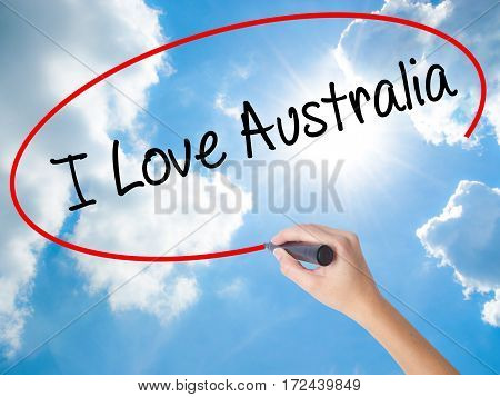 Woman Hand Writing I Love Australia With Black Marker On Visual Screen