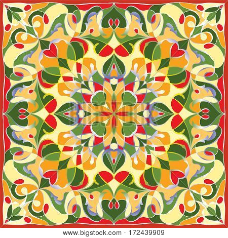 Bright color pattern in Oriental style. Square ornament for shawls scarves or pillow. Can be used for printing onto fabric or paper. Vector illustration.