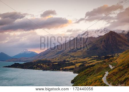 Scenic View From Bennetts Bluff Viewpoint, Near Glenorchy, New Zealand