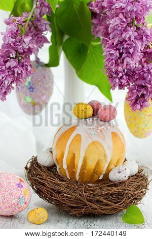 Traditional Russian Easter bread cake beautiful kulich