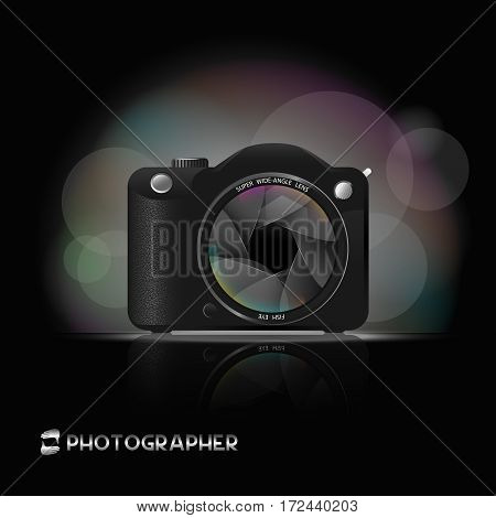camera image with a wide angle lens on a black background