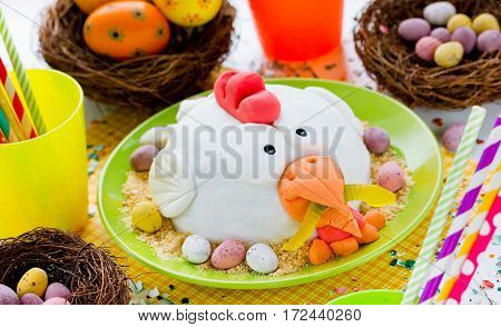 Funny Easter cake decorated sugar mastic hen shaped cake