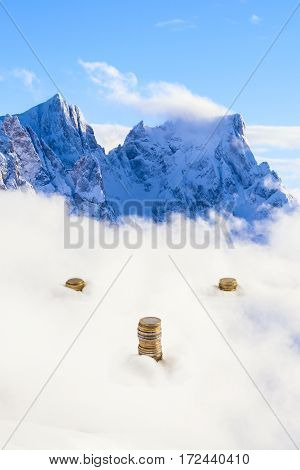 Surreal Euro Coins On The Italian Alps