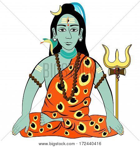 Shiva Mahadev India With A Trident. Vector Illustration