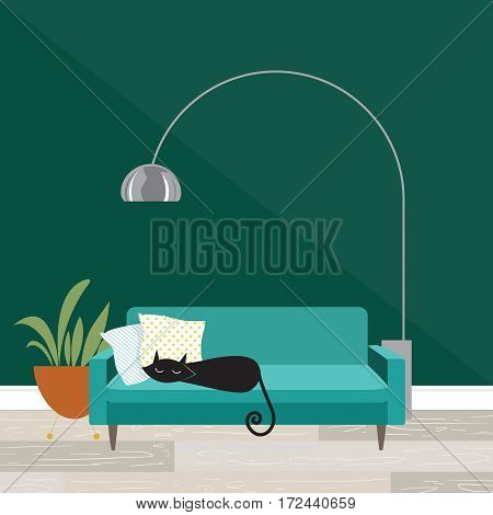 Cozy room scene with sleeping cat in mid-century modern style