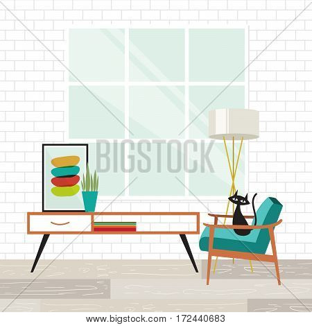 Cozy room scene with a cat in mid-century modern style