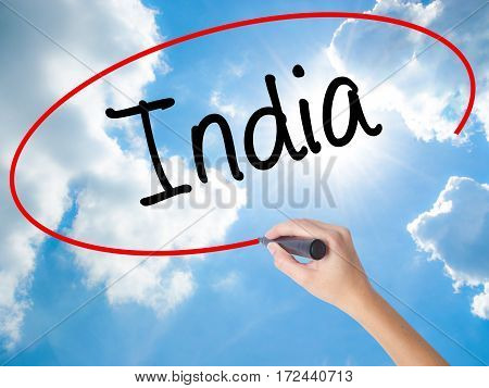 Woman Hand Writing India With Black Marker On Visual Screen.