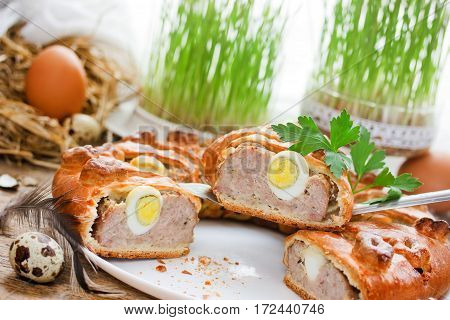 Easter meatloaf ring with quail eggs traditional Easter food meat roll