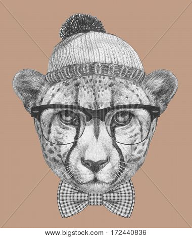 Portrait of Cheetah with glasses, hat and bow tie. Hand-drawn illustration.