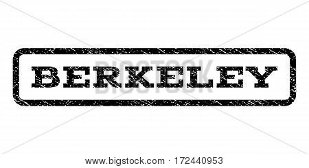 Berkeley watermark stamp. Text caption inside rounded rectangle with grunge design style. Rubber seal stamp with unclean texture. Vector black ink imprint on a white background.
