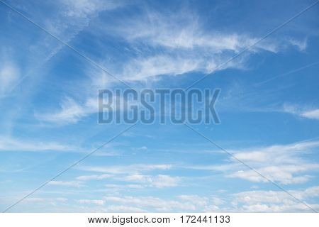 Blue clean sky. Nature background.