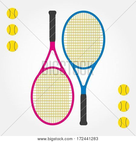 Tennis racket and tennis balls. Two tennis rackets in flat style. Vector illustration.