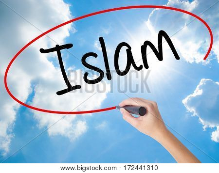 Woman Hand Writing Islam With Black Marker On Visual Screen