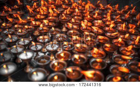 Kathmandu candles burn for religious purposes. Nepal
