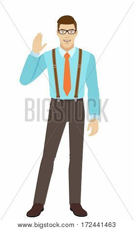 Businessman greeting someone with his hand raised up. A man wearing a tie and suspenders. Full length portrait of businessman in a flat style. Vector illustration.