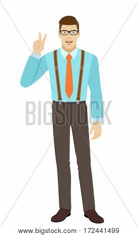 Victory! Smiling businessman showing victory sign. A man wearing a tie and suspenders. Full length portrait of businessman in a flat style. Vector illustration.