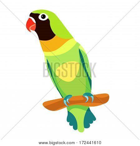 Lovebird Parrot Sitting Head Turned Black  Vector Illustration