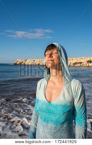 Portrait Of Happy Woman Who Relax On The Surf Line